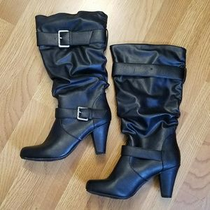 Black boots black slouch boots heeled boots